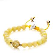 Shimla SH-168 Ladies Yellow Jade Bracelet with Stone Set Sphere