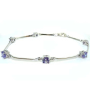 High Quality Ladies Solid Sterling Silver Gemset 18cm Bracelet Bangle - Ideal for Christmas, Birthday, Anniversary, Valentines Day or Mothers Day Gift