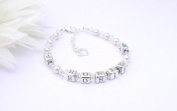 Hearts and Flowers Childs Sterling Silver Name Bracelet