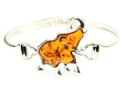 Beautiful Designer 925 Sterling Silver Bangle set with Baltic Amber - ADBL500
