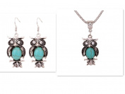Yazilind Jewellery Christmas Gift Tibetan Silver Oval Turquoise Crystal Owl Necklace Earrings Set for Women
