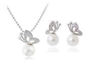 Klaritta Bridal White Pearl Silver Butterflies Jewellery Set Earrings Studs Necklace S207