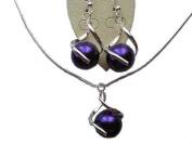 Klaritta Costume Jewellery Purple Pearl Silver Plated Set Necklace & Earrings CC16N