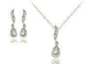Klaritta Wedding Bridal Jewellery Set Silver Tone & White Pearls Necklace & Earrings S213