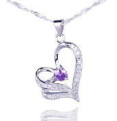 Aokeshen Dazzing Clear Crystal CZ Amethyst Love Heart Dangle 925 Sterling Silver Necklace Pendant SD214