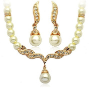 Klaritta Wedding Bridal Jewellery Set Gold & White Pearl Necklace Studs Earrings S113G