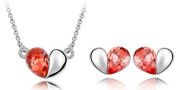 Klaritta Crystal Jewellery Set Of Silver & Red Hearts Stud Earrings & Necklace S131