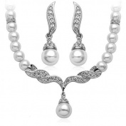 Klaritta Wedding Jewellery Jewellery Set White Pearl & Crystal Necklace Studs Earrings S113