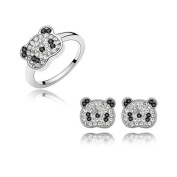 Dreamslink Fashion Jewellery Sets 18K White Gold Plated. Elements Austria crystal Lovely Panda Earrings, Rings84265