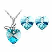 Klaritta Beautiful Jewellery Set Ocean Blue Crystal Hearts Stud Earrings & Necklace F31SO