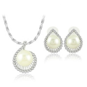 Klaritta Vintage Jewellery Set Silver Wave Shape With White Pearl Stud Earrings & Necklace VS4