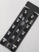 Black Braces with White Skull Detail 2 cm