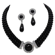 Three row black pearl/diamante silver plated necklace set