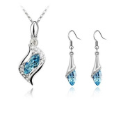 Dreamslink Fashion Jewellery Sets 18K White Gold Plated. Elements Sea Blue Colour Austria crystal Lovely Angle Drop Necklace, Earrings83844