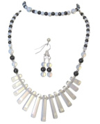 M Allen Hematite & Opalite/Moonstone Gemstone Tapered Necklace, Bracelet & Earrings Gift Set