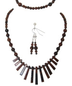 M Allen Mahogany Obsidian Gemstone Tapered Necklace, Bracelet & Earrings Gift Set
