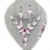 Glitzy Glamour Fuschia Crystal White Mesh Necklace/Bracelet And Earring Set
