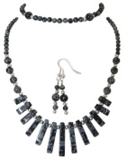 M Allen Black Snowflake Obsidian Gemstone Tapered Necklace, Bracelet & Earrings Gift Set
