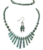 M Allen Green Tree Agate Gemstone Tapered Necklace, Bracelet & Earrings Gift Set