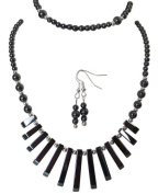 M Allen Black Hematite Gemstone Tapered Necklace, Bracelet & Earrings Gift Set