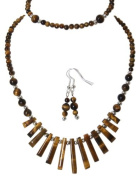 M Allen Brown Tigers Eye Gemstone Tapered Necklace, Bracelet & Earrings Gift Set