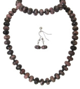 M Allen Pink Rhodonite Gemstone Necklace, Bracelet & Earrings Gift Set