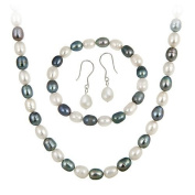 Sterling Silver Freshwater Cultured Multi Colour Pearl Necklace, Bracelet Earring Jewellery Set
