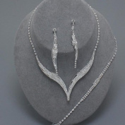 Silver clear diamante necklace bracelet and earring set