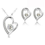 18k Real Gold Plated Cubic Zircon True Love Heart Pendant And Earrings. ELEMENTS CRYSTAL Jewellery Set Comes In A Free Gift Box