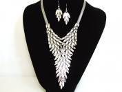 Stunning Chunky Silver Drop Layered Leaf Statement Necklace & Earring Set