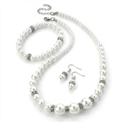 Divadoo Three Piece White Pearl and Crystal Necklace, Earring and Bracelet Set