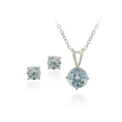 Sterling Silver 2.76ct TGW Blue Topaz Round Solitaire Pendant & Stud Earrings Set, 46cm