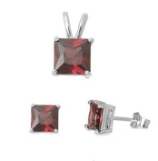 925 Sterling Silver Sets - Garnet Cubic Zirconia - Stone