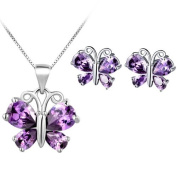 New Arrival Floray Ladies Purple Butterfly Sapphire Pendant Necklace and Stud Earring Jewellery Set,Sterling Silver Chain. Free Blue Gift Box. Beautiful Gift for Women or Girls. Chain Length:45cm
