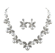 SEXYHER Sparkling Crystal Four Leaf Clover Pearl Necklace And Earring Jewellery Set In White UK NEXT DAY DELIVERY SHTL0719