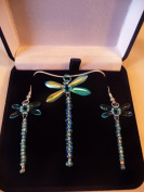 Beaded Turquoise Dragonfly Sterling Silver Necklace and Earing Box Set