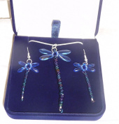 Beaded Sapphire Dragonfly Sterling Silver Necklace and Earing Box Set