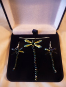 Beaded Aurora Dragonfly Sterling Silver Necklace and Earing Box Set