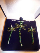 Beaded Peridot Green Dragonfly Sterling Silver Necklace and Earing Box Set