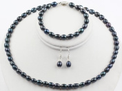 6-7mm Black Natural Freshwater Pearls Necklace, Bracelet and Earrings Set