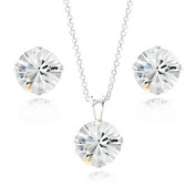 Sterling Silver Crystal. Elements 8mm Necklace & Stud Earrings Set