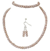 M Allen Pinky Peach Genuine Freshwater Pearl Necklace, Bracelet & Earrings Gift Set A Grade