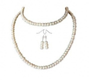 M Allen Cream Genuine Freshwater Pearl Necklace, Bracelet & Earrings Gift Set AA Grade
