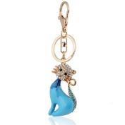Handbag Buckle Charm Accessories Luxury Blue Cute Cat Keyrings Key Chains HK52