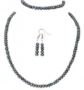 M Allen Petrol Blue Genuine Freshwater Pearl Necklace, Bracelet & Earrings Gift Set