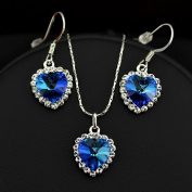 . Austrian Crystal and 18k Real WHITE GOLD Plated Blue Heart Necklace And Earrings . elements crystal Jewellery Set Comes In A Free Gift Box, Perfect Gift for any occasion