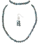 M Allen Silvery Blue Genuine Freshwater Pearl Necklace, Bracelet & Earrings Gift Set