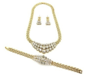Hot Very. Gold/Clear Crystal Pendant Necklace, Bracelet, and Earrings Jewellery Set ANE30GCL