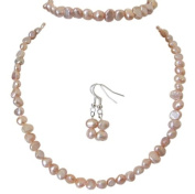 M Allen Peach Genuine Freshwater Pearl Necklace, Bracelet & Earrings Gift Set