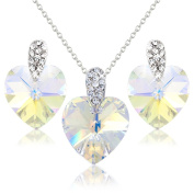 PRETTY RAINBOW HEART NECKLACE AND EARRING SET WITH WHITE. ELEMENT CRYSTALS - GIFT PRESENT FOR HER